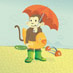 Umbrella Monkey art print
